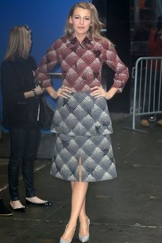 Blake Lively wearing Christian Louboutin Tucsick Pumps in Gris/Ivory, Marc Jacobs Fall 2015, Marc Jacobs Fall 2015 Embellished Plaid Cropped Jacket and Marc Jacobs Fall 2015 Embellished Plaid Peplum Dress