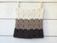Chunky Ombre Cowl  moka beige and cream  stripe by theYarnKitchen, $72.00