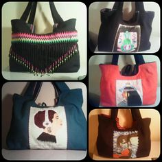 Fabric Bags, handmade, hand painted, hand embroidered by Craft Ninjas