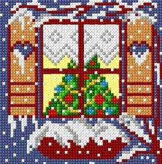 Christmas window cross stitch window tree snow