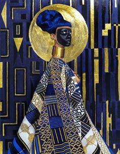 "Lina Iris Viktor, ""Syzygy,"" 2015, 24-karat gold, acrylic and gouache, print on matte canvas"