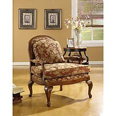 Salon Burgundy Brocade Chair - Overstock™ Shopping - Great Deals on Living Room Chairs My Living Room, Living Room Chairs, Living Room Furniture, Dining Rooms, Floral Chair, Traditional Chairs, Occasional Chairs, Interior Design Living Room, Armchair