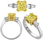 1.87 Carat Fancy Yellow Radiant Cut & Bullet Cut Diamond Engagement Ring