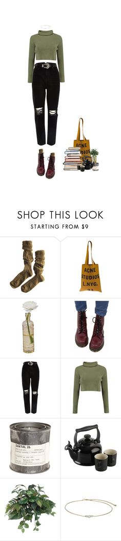 """""""free books for nice girl"""" by jaxdm ❤ liked on Polyvore featuring Polder, Acne Studios, Cultural Intrigue, Dr. Martens, River Island, Le Labo, Le Creuset, Peony and Miss Selfridge"""
