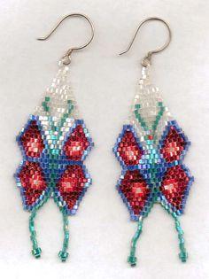 Delicate Butterfly Seed Bead Earrings.