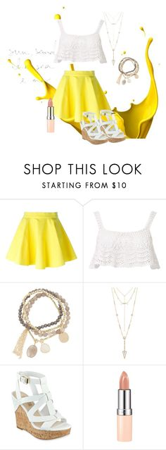 """Untitled #152"" by sparkles-and-wine ❤ liked on Polyvore featuring Jeremy Scott, Beauty & The Beach, DesignSix, House of Harlow 1960, GUESS, Rimmel, contest, yellow, Wedges and pinklips"