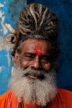 "India - Varanasi, ""Portrait of a Sadhu"" vaisnava, Dashashwamedha Ghat. We Are The World, People Around The World, Around The Worlds, Cultures Du Monde, World Cultures, Many Faces, Interesting Faces, Portrait Photography, Beautiful People"