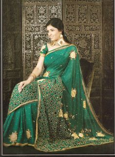 Emerald Sarees | Emerald green saree
