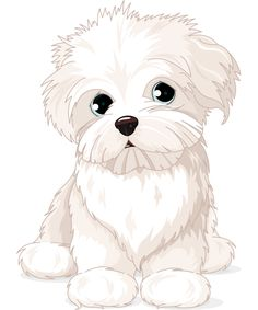 Illustration of Clipart Maltese Puppy Dog vector art, clipart and stock vectors. Maltese Dogs, Dogs And Puppies, Funny Puppies, Animal Drawings, Cute Drawings, Dog Drawings, Animals And Pets, Cute Animals, Puppy Drawing