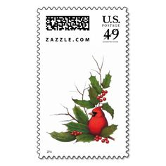 Christmas, Holidays, Bird with Holly, Twigs Postage Stamps #holiday #postage #christmas
