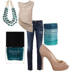 Teal & Tan, created by lovinthatstyle.polyvore.com