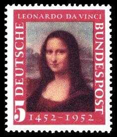 West German Stamp Commemorating Leonard da Vinci's 500th Birthday