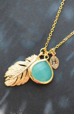 Leaf initial necklace