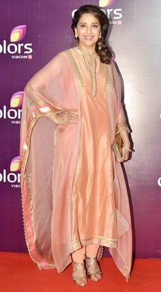 Madhuri Dixit on red carpet at Colors Party function.