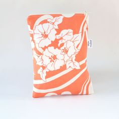 Large Zip Pouch Diaper Pouch Orange and White Flowers by ablemabel,