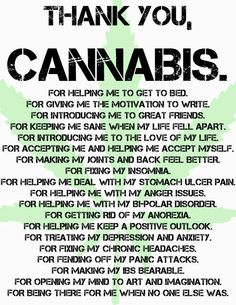 Thank you, cannabis!