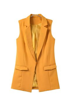 Bella Philosophy 2018 new fashion waistcoat women no button black jacket women sleeveless blazer jacket white casual outwear Sleeveless Blazer, Yellow Blazer, Jackets For Women, Clothes For Women, White Casual, Black White, White Wine, Mode Hijab