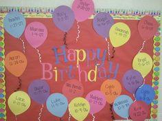 PreK, My Style: Birthday Bulletin Board Preschool Birthday Board, Birthday Bulletin Boards, Birthday Wall, Preschool Bulletin Boards, Fall Birthday, Birthday Display Board, Happy Birthday, Birthday Kids, Birthday Cupcakes