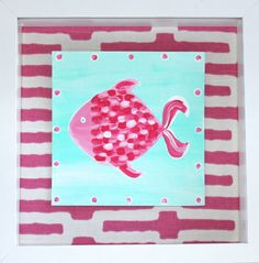 Hot Pink Tropical Fish Nursery Art by TheNauticalNursery on Etsy,