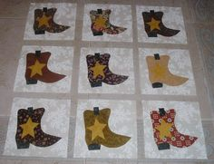 cowboy boot quilt squares, good price