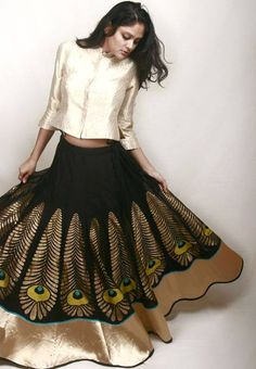 skirt/lehenga I love the peacock feathers and the design is so unique. Indian Attire, Indian Ethnic Wear, India Fashion, Ethnic Fashion, Fashion Sets, Fashion Trends, Women's Fashion, Indian Dresses, Indian Outfits