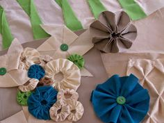 my fabric manipulation experiments including fabric flowers, smocking and my unique fabric pinwheel experiments