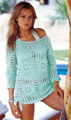Pattern only - handmade crochet summer blouse, top, long sleeves – Fashion and Style
