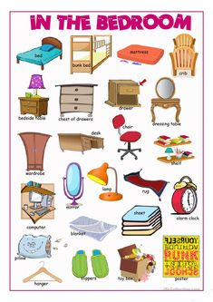 In the Bedroom Picture Dictionary worksheet Free ESL printable worksheets made by teachers is part of English vocabulary - Learning English For Kids, Kids English, English Tips, English Language Learning, English Lessons, Teaching English, Learning Italian, French Lessons, German Language