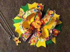 "6"" Boutique Stacked Winnie The Pooh Inspired Hair Bow & 16"" Necklace #Handmade"