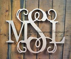 Wooden Monogram Wall Hanging small letter (shown in roman font) - southern nest | wooden