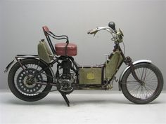 1908 Auto-Fauteuil. This was a step-through motorcycle with an armchair instead of a saddle