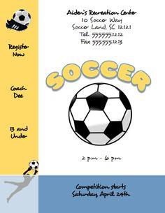 Free Microsoft Publisher Soccer Flyer Template | FlyerTutor.com http://www.flyertutor.com/flyer-templates/soccer-flyer-template.html #soccer #mspublisher #microsoftpublisher #flyerdesign #graphicdesign #flyertemplate #flier #leaflet #flyer