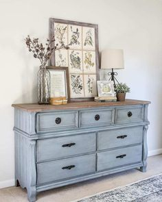 natural shade variations in the wood and adds just a hint of gray. It's Refurbished Furniture, Farmhouse Furniture, Repurposed Furniture, Vintage Furniture, Rustic Furniture, Vintage Dressers, Blue Distressed Furniture, Diy Dressers, Distressed Dresser