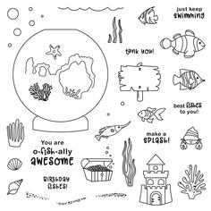 I so love the April Stamp of the Month, O-fish-ally Awesome! This is a set of 37 stamps! The sentiments are too cute! The possibilitie. Holographic Paper, O Fish Ally, Polka Dot Background, Keep Swimming, You Make Me Happy, Close To My Heart, Cute Cards, Awesome, Stamps
