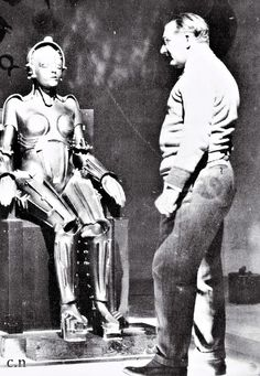 Fritz Lang & Brigitte Helm behind the scenes from Metropolis