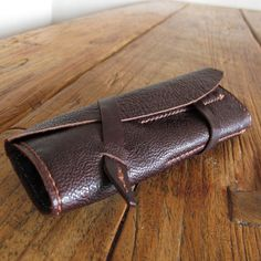 Hand Stitched Simple Leather X Kimono Lining Pen Case - Dark Brown -