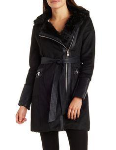 Faux Fur Asymmetrical Wool Coat   Charlotte Russe