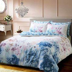 Bold Painted Floral Printed Blue Duvet Quilt Cover Set — Linens Range