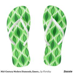 Mid-Century Modern Diamonds Emerald & Lime Green Flip Flops - Durable Thong Style Hawaiian Beach Sandals By Talented Fashion & Graphic Designers - #sandals #flipflops #hawaii #beach #hawaiian #footwear #mensfashion #apparel #shopping #bargain #sale #outfit #stylish #cool #graphicdesign #trendy #fashion #design #fashiondesign #designer #fashiondesigner #style
