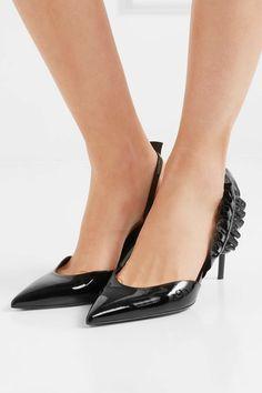 Saint Laurent - Edie Snake Effect-trimmed Patent-leather Pumps - Black