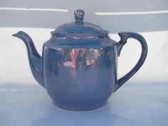 made in Japan vintage blue and coral luster china tea set, teapot, pitcher etc.