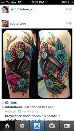 Nice traditional American style sewing machine tattoo on Nastassjalamb. Tattoo by Ado