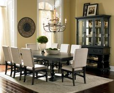 """Leona Cottage Rectangular Antique Black Dining Table with 18"""" Leaf by Steve Silver"""