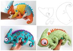 Chameleon # Animals Planet Fetra - sewing for kids - . Sewing Toys, Sewing Crafts, Sewing Projects, Felt Crafts, Fabric Crafts, Diy And Crafts, Sewing Stuffed Animals, Stuffed Animal Patterns, Sewing For Kids