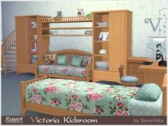Sets of furniture and decor to design a child's room in a romantic style with elements of Shabby.  Found in TSR Category 'Sims 4 Kids Bedroom Sets'