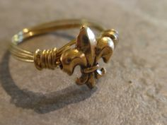 Gold Plated Fleurdelis Ring by OriginalStiles on Etsy, $12.00