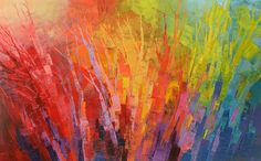 Abstract Forest Painting Palette Knife Original by TatianasART