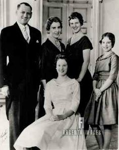 argentaimages:  Confirmation of Princess Benedikte of Denmark, 1959-l-r King Frederik, Queen Ingrid, Crown Princess Margrethe, and Princess Anne-Marie with Princess Benedikte seated