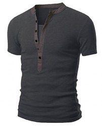 Stand Collar Splicing Design Short Sleeve Men's T-Shirt - DEEP GRAY M
