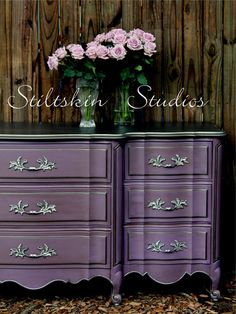 I don't know if I'd ever use this color in my house but I WILL find a spot for it   Smokey Amethyst French Dresser